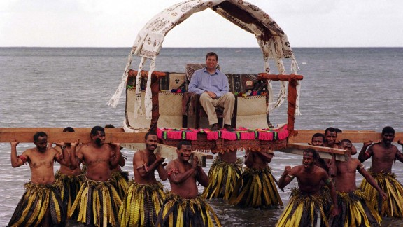 """In October 1998, Prince Andrew -- pictured here on a state visit to Fiji that November -- implied in an interview with the Mirror that Buckingham Palace aides had been misleading the media routinely """"for the last 20 years"""" about the royal family. The Queen was reportedly furious at her son, who later backpedaled on his comments."""