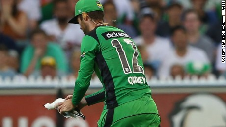 Rob Quiney of the Melbourne Stars removes the seagull from the pitch after it was struck by a cricket ball.