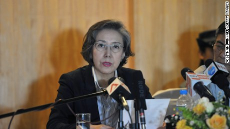 U.N. Special Rapporteur on Myanmar Yanghee Lee at a press conference in Yangon.