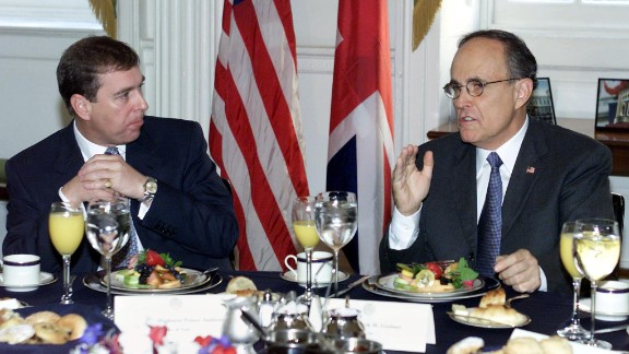 In 2001, Prince Andrew became a UK trade envoy. He is pictured here with New York City Mayor Rudolph Giuliani the same year.
