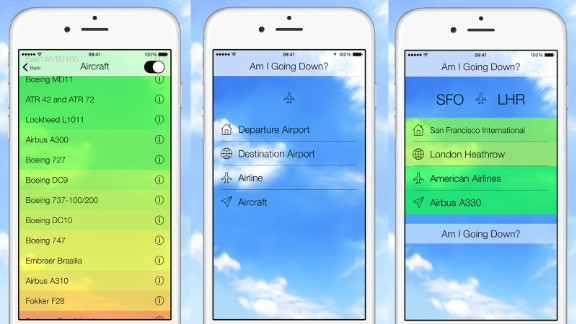 """New app """"Am I Going Down?"""" uses aviation statistics to analyze the odds a flight will crash."""