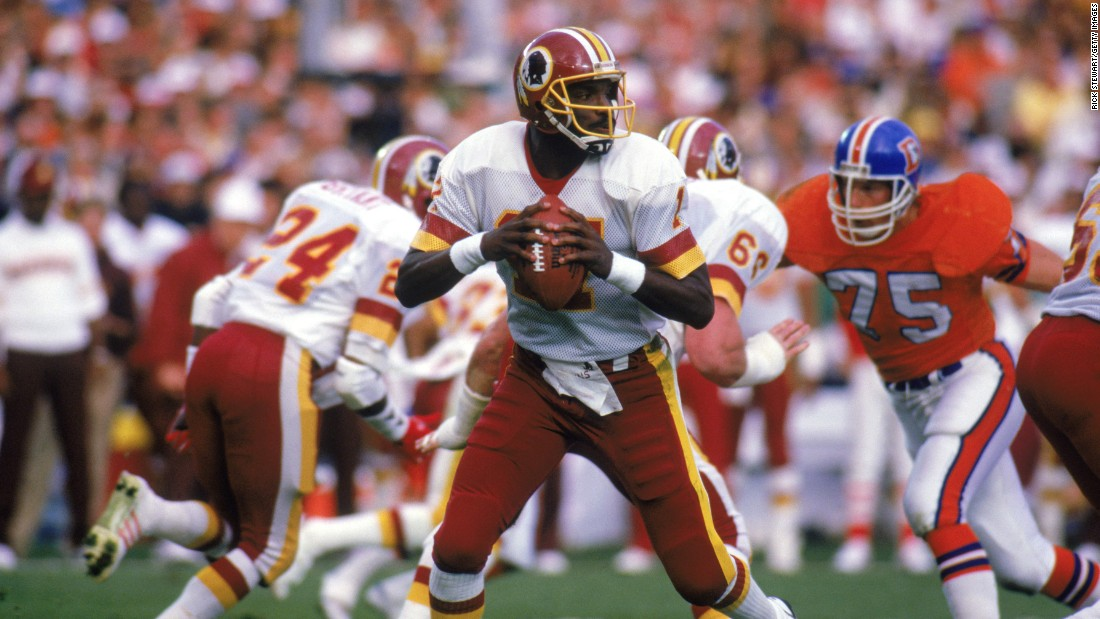The Washington Redskins trailed 10-0 after a quarter of play at Super Bowl XXII, but quarterback Doug Williams threw four touchdowns in the second quarter and the rout was on. The Redskins rolled to a 42-10 victory, and Williams was named MVP after finishing with 340 passing yards.