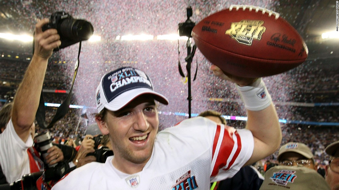 Manning's brother Eli won MVP the next season, as his New York Giants upset the New England Patriots and ended their hopes of an undefeated season. Manning threw for two touchdowns as the Giants won 17-14.