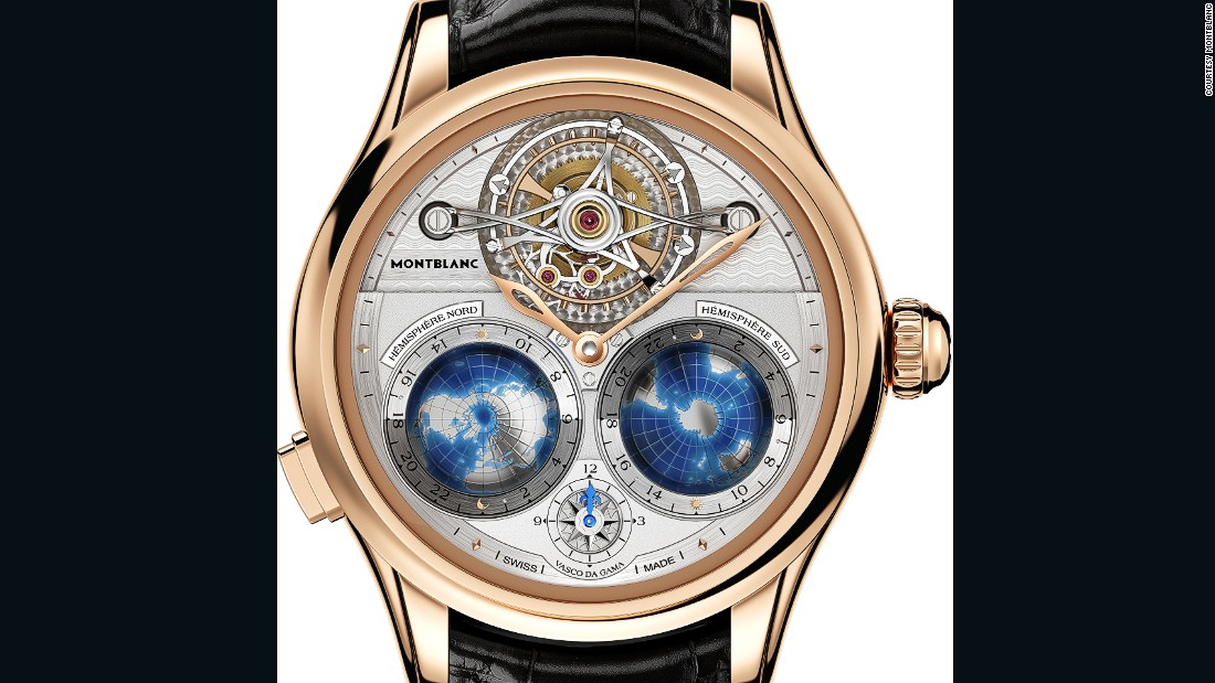 "<a href=""https://montblanc.com/en-gb/default.aspx?sc_lang=en-gb"" target=""_blank"">Montblanc</a>'s Tourbillon Cylindrique Geosphères Vasco da Gama was inspired by the Portuguese explorer, who established the first ocean route from Europe to Asia. A disc around each globe, which represent the northern and southern hemispheres, rotate once a day to reflect the passing of day and night."