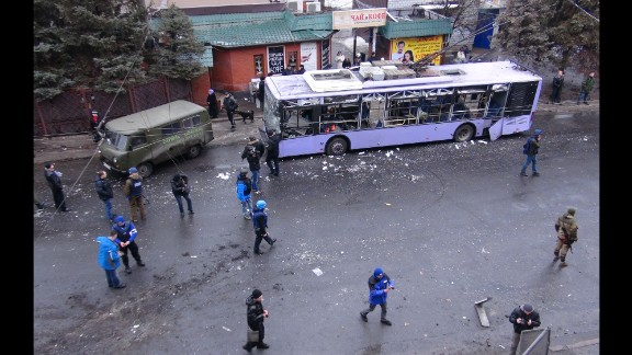 A trolleybus is damaged in Donetsk