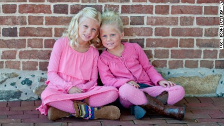 Alexis (Lexi) Boone, 8 and Kaitlyn (Katie) Boone, 7, are among four grandchildren of  technology executive Don Pyle and his wife, Sandra, who are thought to have perished in a fire in  Annapolis, Maryland.
