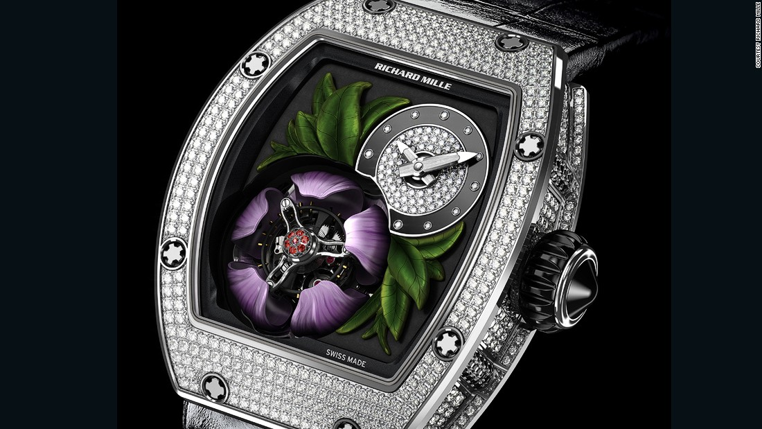 "The 18-karat gold magnolia adorning the <a href=""http://www.richardmille.com/"" target=""_blank"">Richard Mille</a> RM 19-02 Tourbillon Fleur opens every five minutes to reveal the flying tourbillon inside."