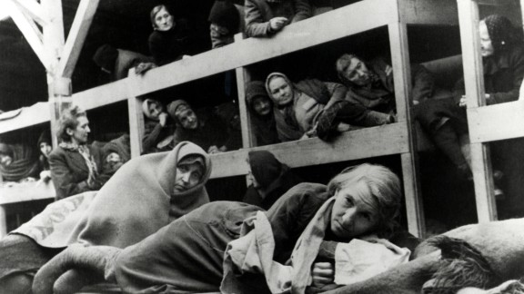Female survivors in the barracks at the camp.  Hundreds of prisoners were housed in the crowded quarters.