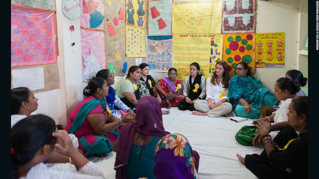 Melinda Gates meets with a local women's group to discuss sanitation issues in New Delhi in September 2014.