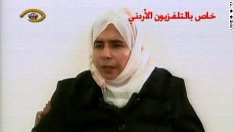Sajida al-Rishawi is seen in a frame from Jordanian television in 2005 where she confessed her participation in the deadly attacks at Amman hotels.