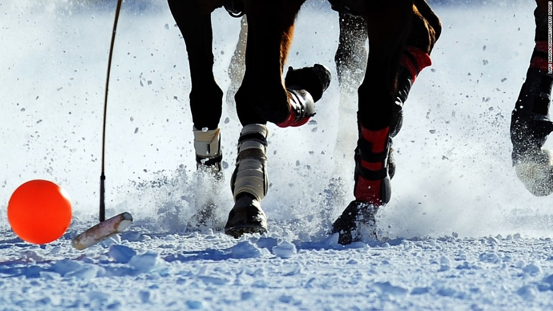 Snow polo uses a larger, softer high-visibility ball compared to its better-known grass counterpart.