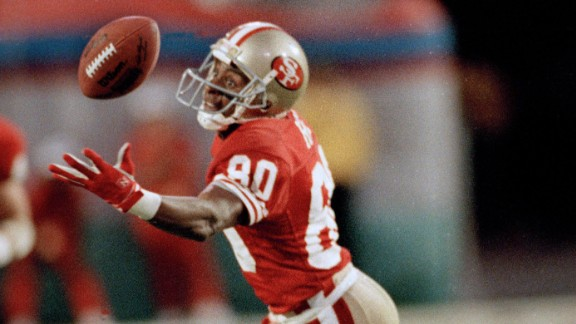 Most receiving yards in a Super Bowl: San Francisco wide receiver Jerry Rice was named Super Bowl MVP in 1989 after he caught 11 balls for a record 215 yards against Cincinnati. The Hall of Famer also holds Super Bowl records for most points and most touchdowns in a career. He scored eight touchdowns over four Super Bowls.