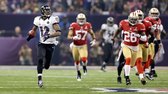 Longest scoring play in a Super Bowl: Baltimore's Jacoby Jones returned a kickoff 108 yards as the Ravens defeated San Francisco 34-31 in 2013.
