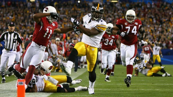 Longest interception return in a Super Bowl: Pittsburgh's James Harrison picked off Arizona's Kurt Warner on the last play of the first half and rumbled 100 yards for a touchdown in 2009.