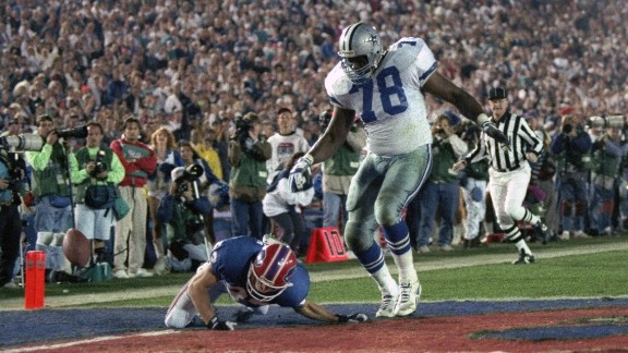 Longest fumble return in a Super Bowl: Almost everything came up roses for the Dallas Cowboys in 1993, as they crushed Buffalo 52-17 in the Rose Bowl. But defensive lineman Leon Lett had an embarrassing moment late in the game when he was returning a fumble for what looked to be a sure touchdown. Lett returned the ball 64 yards, but he started showboating early and was stripped by Buffalo's Don Beebe.