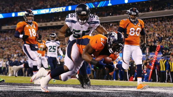 Fastest score in a Super Bowl: On the first play from scrimmage in 2014, Denver center Manny Ramirez snapped the ball past quarterback Peyton Manning. Denver's Knowshon Moreno recovered the ball in the end zone for a Seattle safety. Only 12 seconds had elapsed.