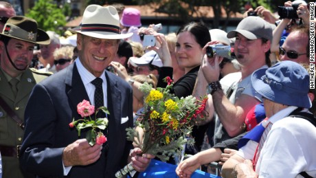 Prince Philip seen in happier times with the Australian public during a royal visit to Perth in 2011.
