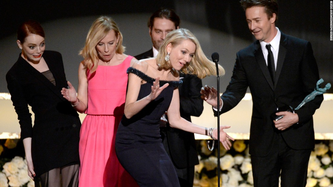 "From left, actors Emma Stone, Amy Ryan, Zach Galifianakis, Naomi Watts and Edward Norton -- who all appeared in the movie ""Birdman"" -- accept the Screen Actors Guild award for outstanding performance by a cast in a motion picture. The awards show was held Sunday, January 25, in Los Angeles."