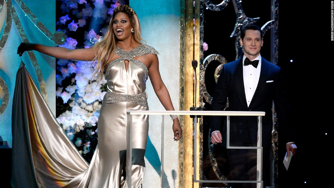 """Orange Is the New Black"" co-stars Laverne Cox and Matt McGorry hit the stage to present an award."