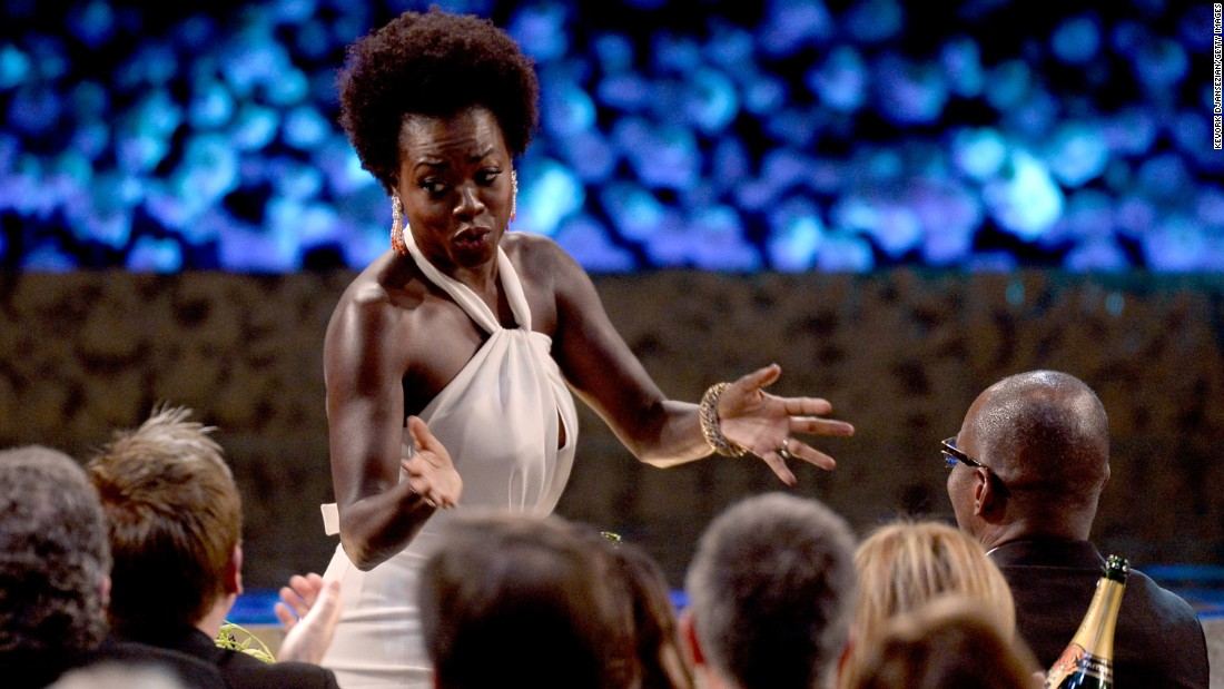 "The award for outstanding lead actress in a drama series went to Viola Davis for her role in ""How to Get Away with Murder."""