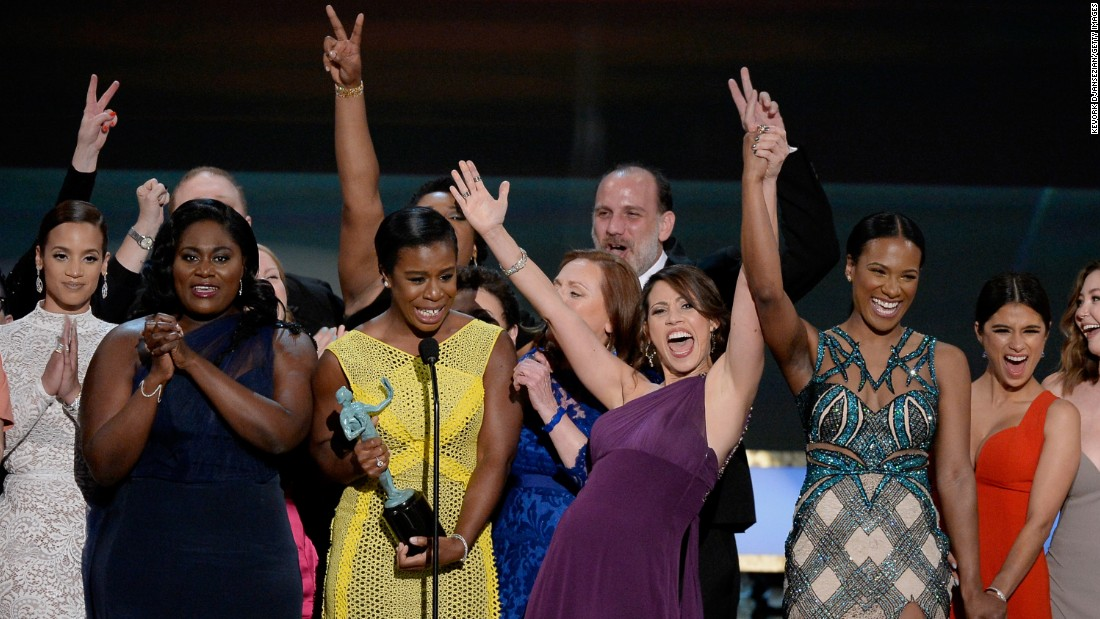 "The cast of ""Orange Is the new Black"" accepts the award for outstanding ensemble in a comedy series."