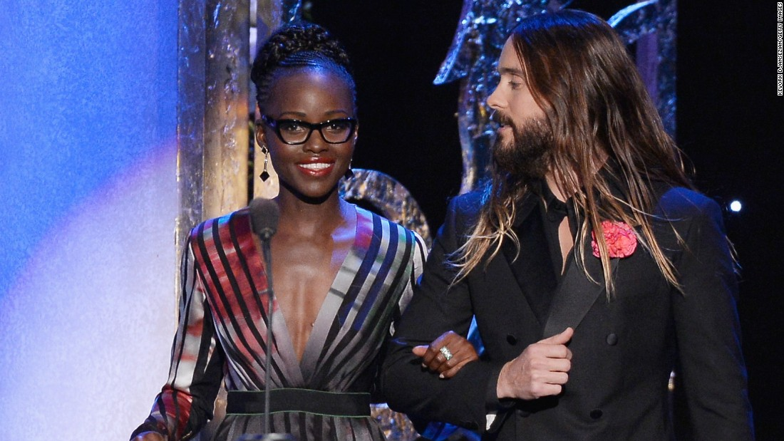 Actors Lupita Nyong'o and Jared Leto take the stage.
