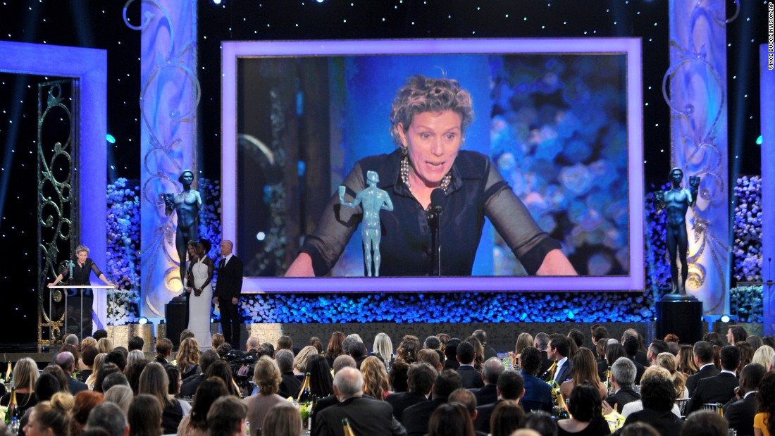 "Frances McDormand accepts the award for outstanding actress in a television movie or miniseries (""Olive Kitteridge"")."