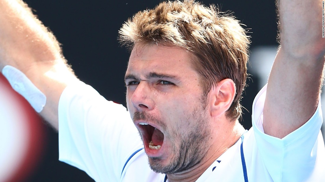 Defending men's champion Stan Wawrinka let out a roar after he won his fourth-round match Monday.