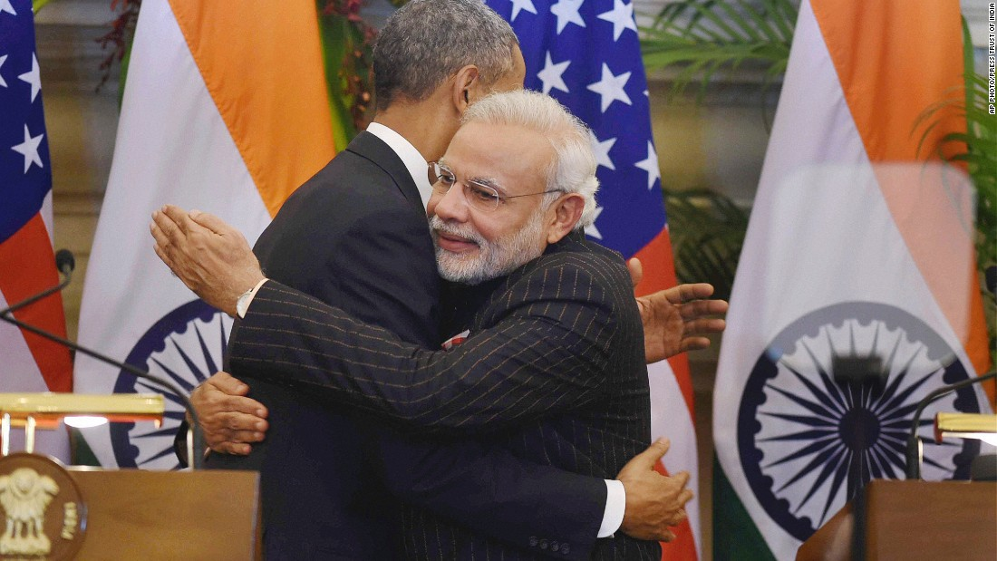 "JANUARY 26 - NEW DELHI, INDIA: U.S. President Barack Obama and Indian Prime Minister Narendra Modi hug after they jointly addressed the media following their talks. <a href=""http://cnn.com/2015/01/23/opinion/agrawal-modi-obama-ties/index.html"">Obama is  the first U.S. President to visit India twice,</a> and the first American chief guest at India's Republic Day parade."