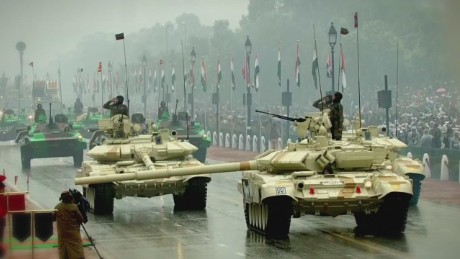Indian troops parade during the country's National Day.