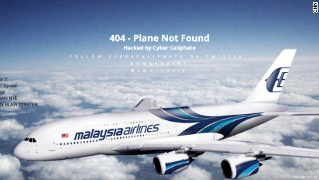 Screenshot shows the website of Malaysia Airlines on the morning of January 26, 2015 after it was hacked.