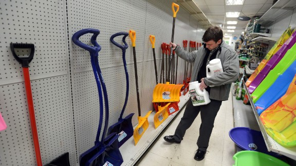 A man buys a shovel in Winthrop, Massachusetts, on January 26.