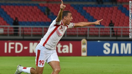 Tunisia forward Ahmed Akaichi celebrates putting his side ahead in the 1-1 draw against DR Congo.
