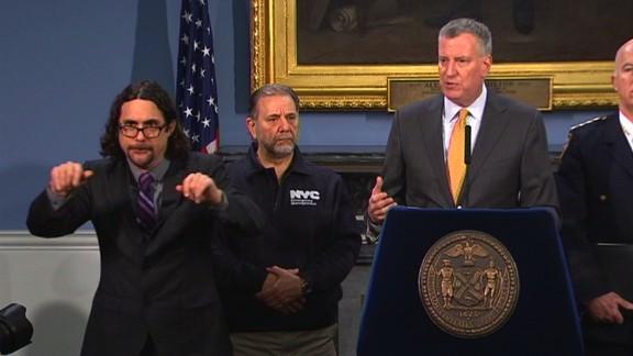 Sign language interpreter Jonathan Lamberton helped warn New York City's deaf community about the winter storm