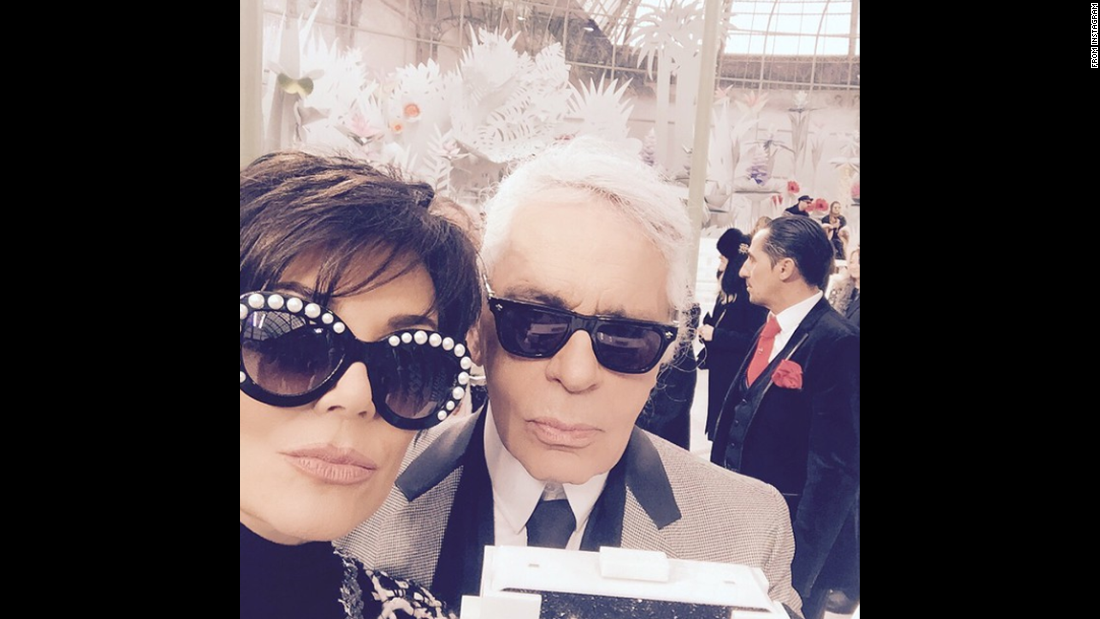 "Television personality Kris Jenner <a href=""http://instagram.com/p/yXI1apG-HC/?modal=true"" target=""_blank"">takes a selfie</a> with fashion designer Karl Lagerfeld at a Chanel show in Paris on Tuesday, January 27."