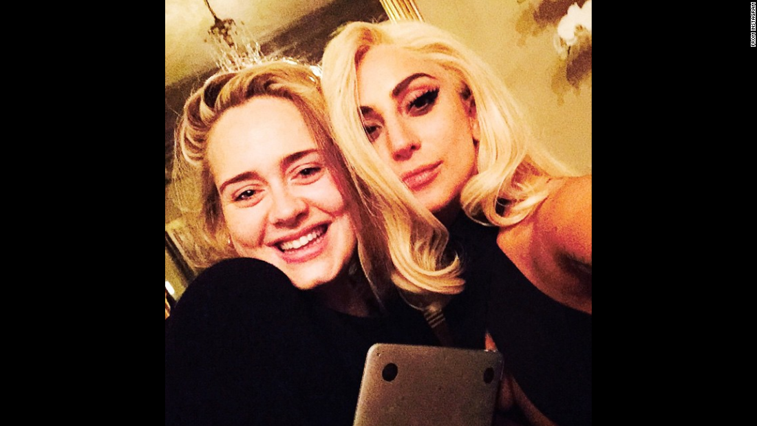 """Nothing like a Wednesday night bro-down with the beautiful Adele,"" wrote singer Lady Gaga, right, in this selfie she <a href=""http://instagram.com/p/yJnDZvpFF7/?modal=true"" target=""_blank"">posted to Instagram</a> on Thursday, January 22."