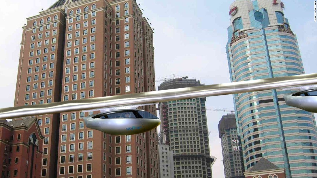SkyTran has designed a system of high-speed commuter pods that it  claims can provide a safer, greener, quieter alternative to traditional forms of public transit. Images are artist's illustrations.