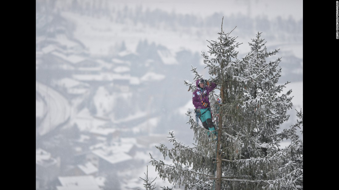 A skiing fan takes a selfie from a tall tree during a World Cup race in Kitzbuhel, Austria, on Saturday, January 24.