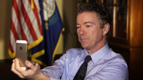 Republican Senator Rand Paul snapchats with CNN's Ashley Codianni