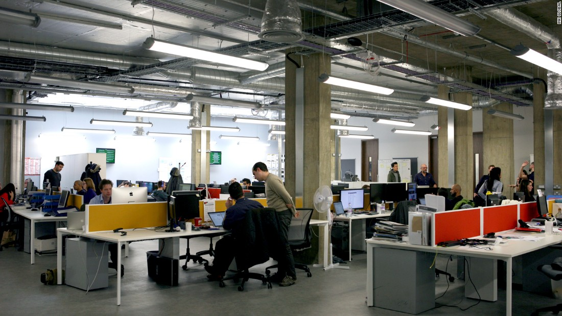 This large and airy office in London was once a car showroom. The high ceilings help wokers embrace their creative thinking, according to <em>The Eureka Factor</em>.