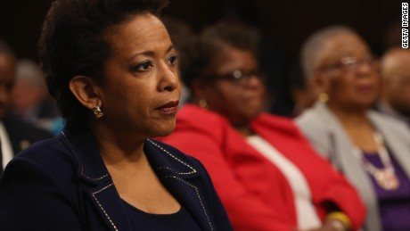 WASHINGTON, DC - JANUARY 28: U.S. Attorney for the Eastern District of New York Loretta Lynch listens to her introduction during her confirmation hearing before Senate Judiciary Committee January 28, 2015 on Capitol Hill in Washington, DC. If confirmed by the full Senate Ms. Lynch will succeed Eric Holder as the next U.S. Attorney General.
