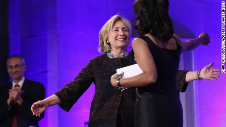 Neera Tanden hugs Hillary Clinton at the Center for American Progress 10th Anniversary event in 2013.