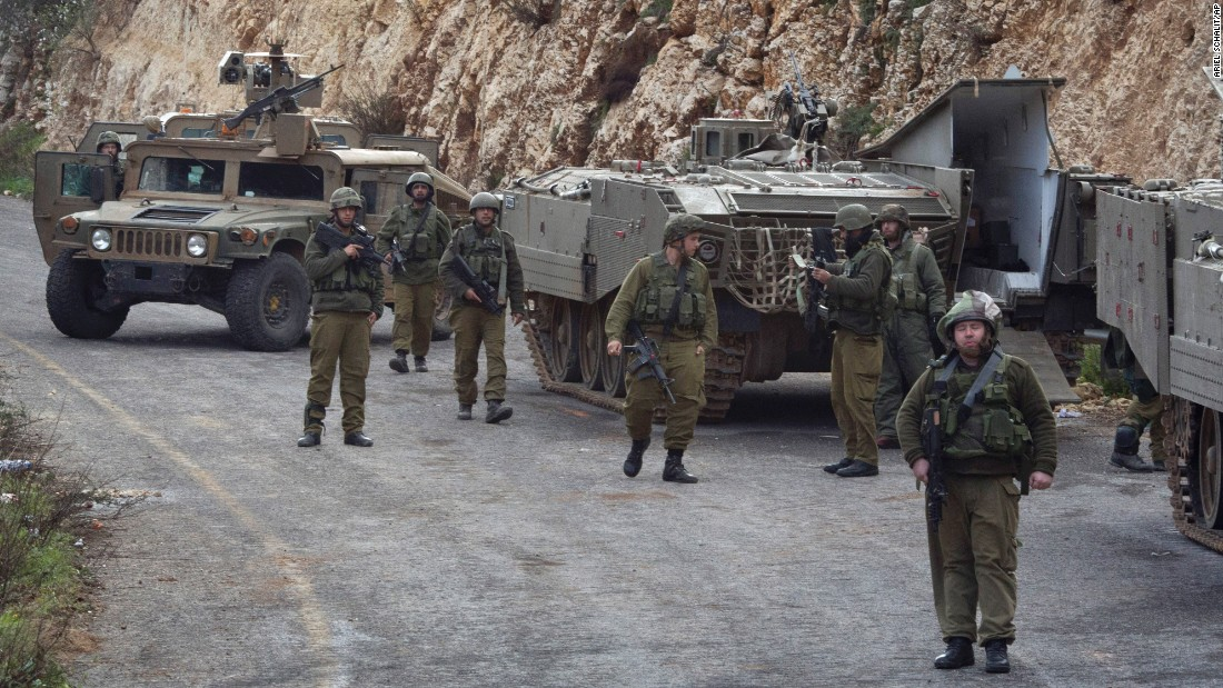Israeli soldiers secure the border with Lebanon on January 28.