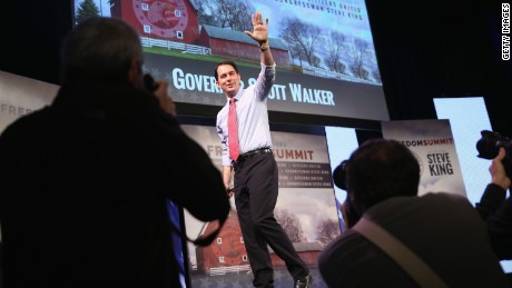DES MOINES, IA - JANUARY 24: Wisconsin Gov. Scott Walker speaks to guests at the Iowa Freedom Summit on January 24, 2015 in Des Moines, Iowa. The summit is hosting a group of potential 2016 Republican presidential candidates to discuss core conservative principles ahead of the January 2016 Iowa Caucuses.