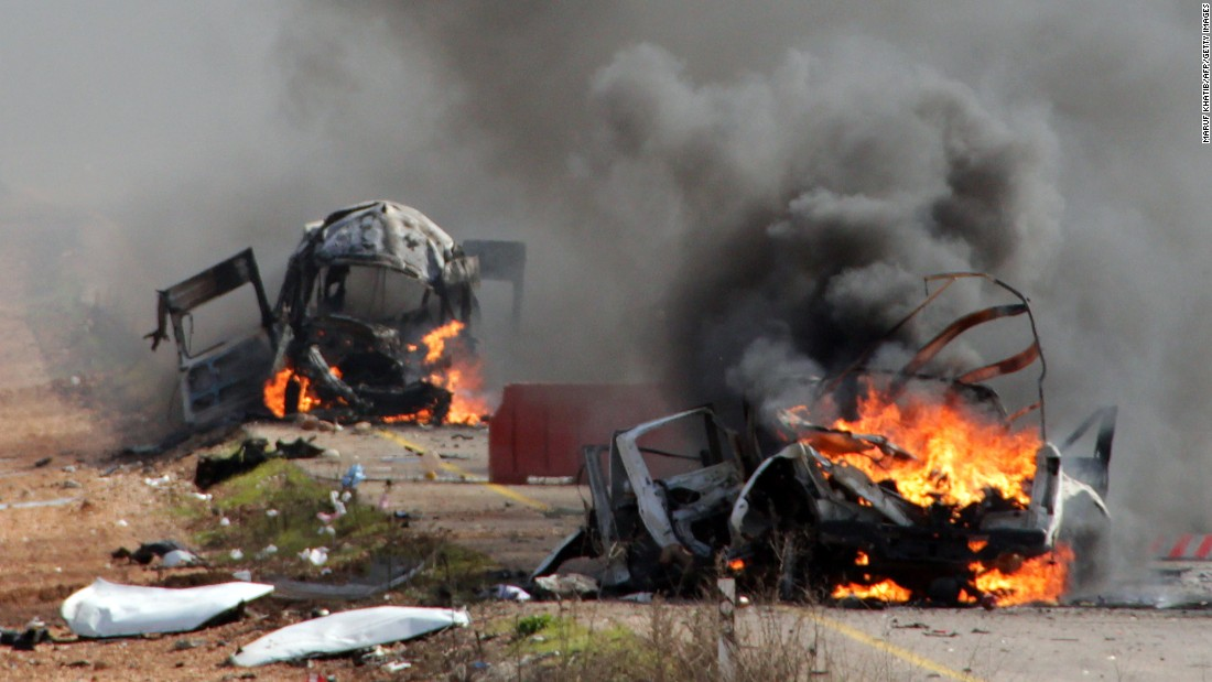 Israeli military vehicles are seen burning in the Shebaa Farms area, a disputed strip of land between Lebanon and Syria, on January 28. Hezbollah fired five anti-tank missiles at Israeli military vehicles in Shebaa Farms, killing an officer and a soldier, the Israel Defense Forces said.