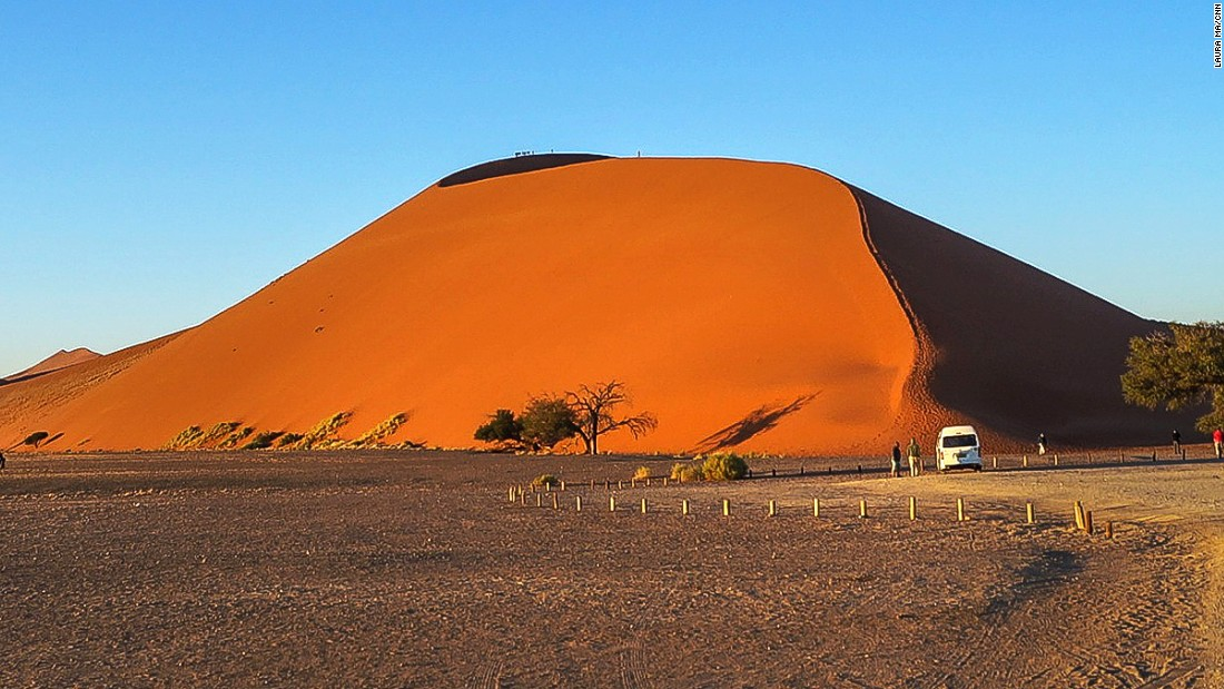 The stunning red dunes at Sossusvlei in the Namib Desert  are a natural wonder of the world and Namibia's most outstanding attraction. They were formed over millions of years, the result of material flowing from the Orange River into the ocean, carried north and returned again to land by the surf.