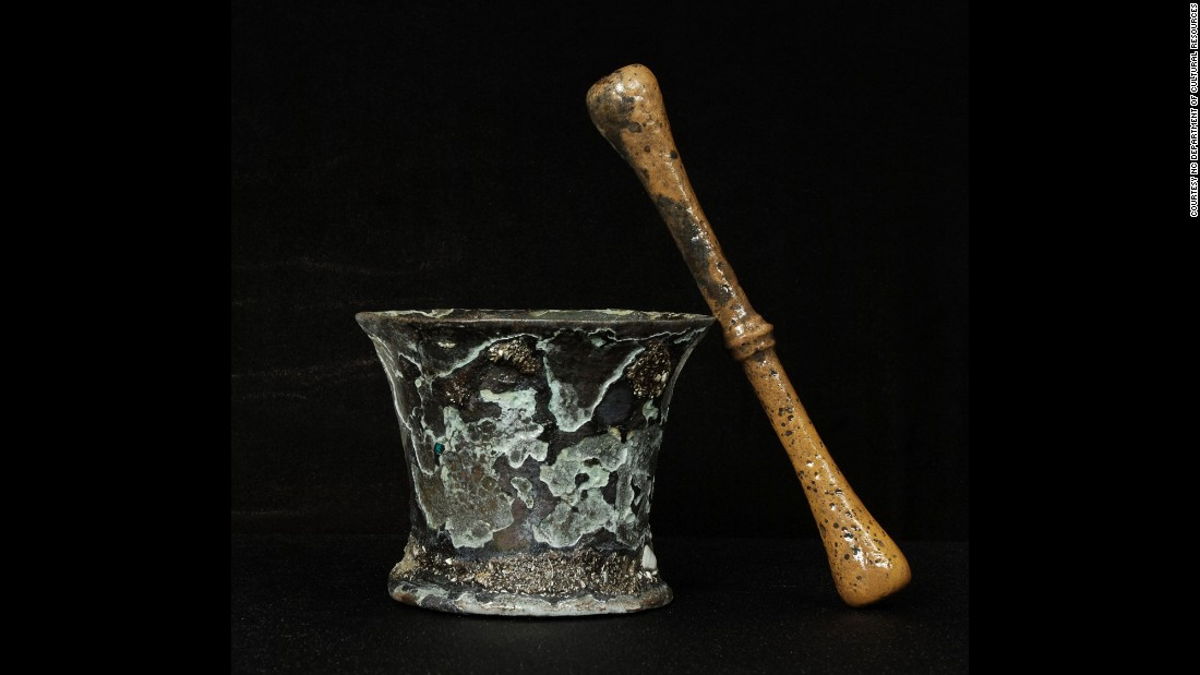 This mortar and pestle was probably used by an apothecary to grind ingredients for medicine.