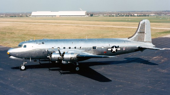 "The Douglas VC-54C, nicknamed ""Sacred Cow,"" is on display at the National Museum of the United States Air Force, near Dayton, Ohio. Sacred Cow served as President Franklin Roosevelt"