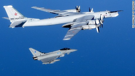A Russian Bear aircraft is escorted by a Royal Air Force Quick Reaction Alert (QRA) Typhoon during an intercept in September 2014. Royal Air Force aircraft at RAF Lossiemouth launched the Quick Reaction Alert (QRA) for the first time since the Moray base took on the role of defending the UK's Northern airspace. Typhoon jets were scrambled to identify aircraft in international airspace. The aircraft, identified as Russian military 'Bears', did not enter UK airspace.
