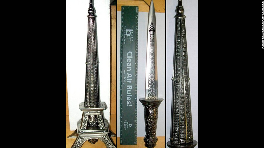 An 8-inch double-edged knife was concealed in an Eiffel Tower statue in a carry-on bag at the Oakland airport.
